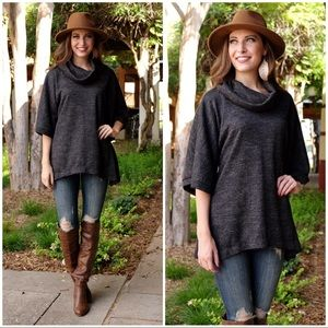 ✨RESTOCKED✨Charcoal Cowl Neck Sweater Tunic